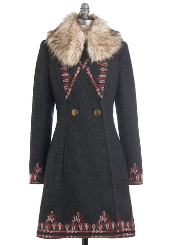 Plenty by Tracy Reese Turn to the Tundra Coat by Plenty by Tracy Reese - Grey, Red, Pink, Tan / Cream, Buttons, Embroidery, Long Sleeve, Solid, Trim, Winter, Long, Holiday, Double Breasted, Rustic, 3.5