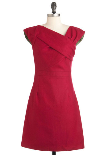 Raspberry Debut Dress - Mid-length, Red, Solid, Wedding, Party, A-line, Sleeveless, 50s, 60s, Cocktail, Fit & Flare, Bridesmaid
