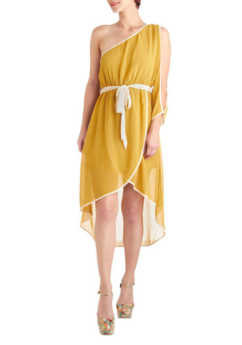 Honey Yogurt Dress - Short, Yellow, White, Solid, Party, A-line, One Shoulder, Summer, Belted, 70s, Boho, Sheer, High-Low Hem