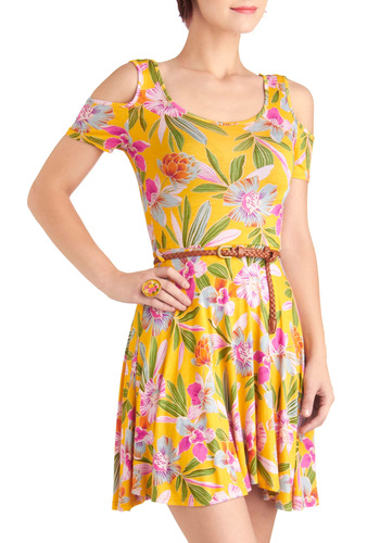 Stay on Tropic Dress - Short, Yellow, Green, Pink, Floral, Crochet, Casual, Vintage Inspired, A-line, Short Sleeves, Summer, Travel, Belted, Jersey