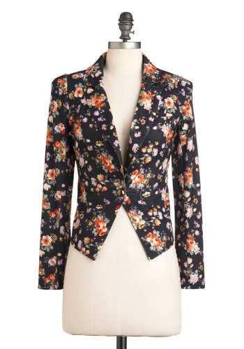Petal to Class Blazer - Short, Black, Multi, Floral, Buttons, Long Sleeve, Multi, Casual, Fall