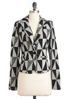 Geometric Up Your Sleeve Blazer - Short, Grey, Black, Buttons, Casual, Long Sleeve, 80s, 1