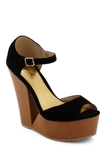 A Notch At the Door Wedge - Black, Solid, Cutout, High, Wedge, Peep Toe, Party, Urban, Girls Night Out, Platform