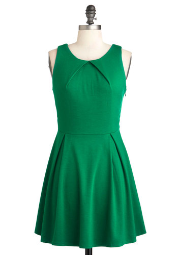 So Profesh and So Green Dress - Green, Solid, Pleats, Party, Short, A-line, Sleeveless, Fit & Flare, Minimal