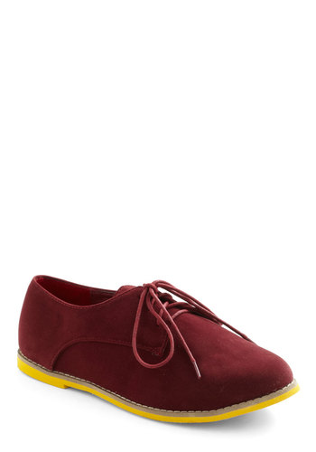 Photo Editor Flat - Red, Solid, Menswear Inspired, Yellow, Flat, Lace Up, Casual, Faux Leather, Variation
