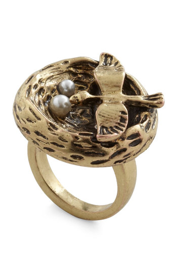 Nest Assured Ring - Gold, Pearls, Quirky