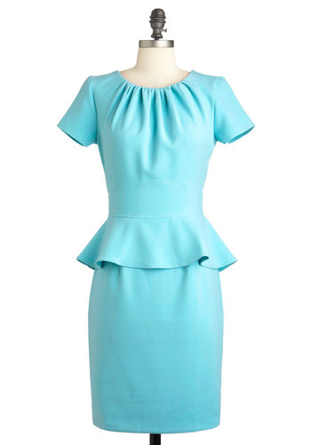Celeste Get Together Dress - Mid-length, Blue, Solid, Exposed zipper, Work, Short Sleeves, Peplum, Pastel, Daytime Party, Spring