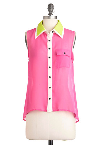 Alive and Awake Top - Pink, Green, Black, White, Buttons, Pockets, Sleeveless, Mid-length, Neon, Sheer, Button Down, Collared, Colorblocking