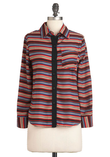 Click, Swag Top - Red, Black, Stripes, Buttons, Pockets, Long Sleeve, Mid-length, Multi, Blue, Tan / Cream, Casual, Fall