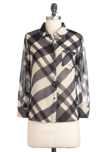 Crossroads of Chic Top - Blue, Black, Plaid, Buttons, Pockets, Casual, Vintage Inspired, 90s, Long Sleeve, Mid-length, Sheer, White, Button Down, Collared