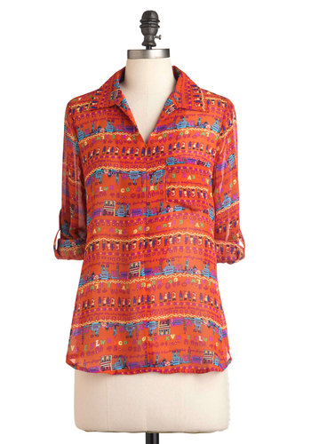 Around Every Corner Top - Orange, Yellow, Blue, Pink, Print, Long Sleeve, Mid-length, Casual, Collared