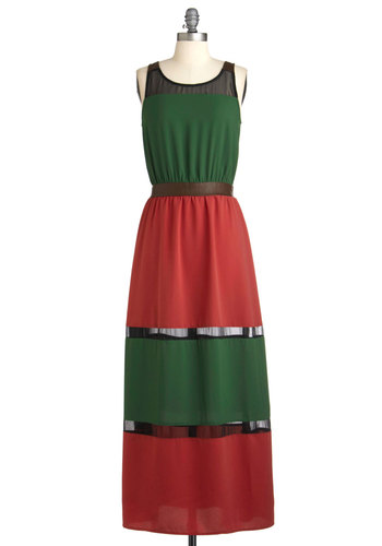 Pining for Style Dress - Multi, Red, Green, Black, Maxi, Long, Brown, Party, Sleeveless, Colorblocking, Tis the Season Sale