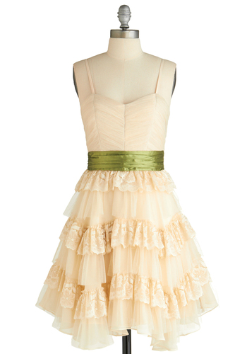 Birthday Magic Dress - Cream, Green, Solid, Bows, Lace, Ruffles, Vintage Inspired, A-line, Spaghetti Straps, Exclusives, Tiered, Party, Mid-length, Prom