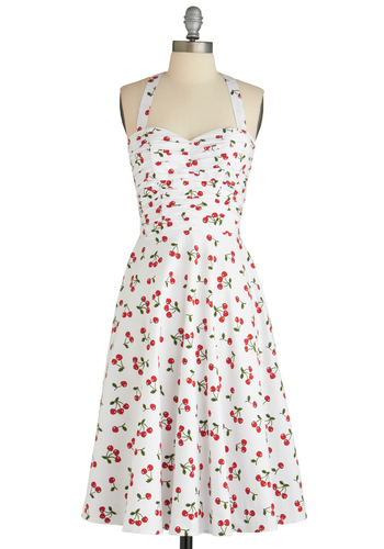 Fruit Stand Dress by Stop Staring! - Long, White, Red, Casual, Pinup, Vintage Inspired, A-line, Halter, Summer, Ruching, Multi, Green, Fruits, Cotton, Sweetheart, Tis the Season Sale