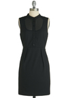 A Sight to City Dress - Short, Black, Solid, Pleats, Work, Sleeveless, Buttons, Pockets, Sheath / Shift, Sheer