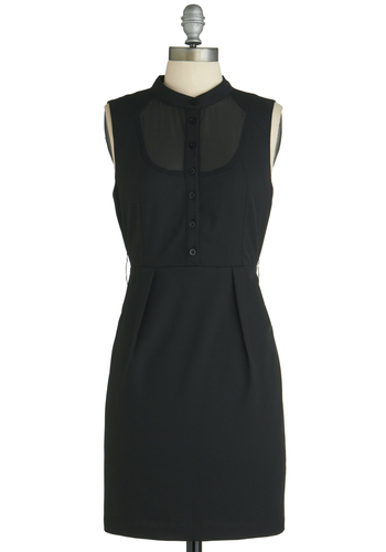 A Sight to City Dress - Short, Black, Solid, Pleats, Work, Sleeveless, Buttons, Pockets, Shift, Sheer