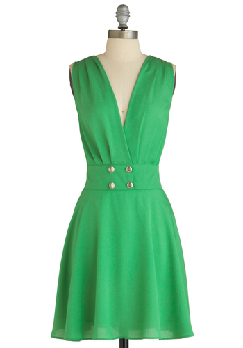 Errand Go Bragh Dress - Mid-length, Green, Solid, Buttons, Casual, Vintage Inspired, A-line, Sleeveless, Summer, 60s, Fit & Flare, V Neck