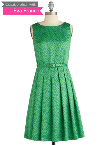 Sample 2075 - Green, Green, Pleats, Party, Vintage Inspired, A-line, Sleeveless, Belted, Print, Fit & Flare
