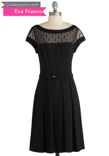 Sample 2079 - Black, Solid, Embroidery, 50s, Short Sleeves, Pleats, Belted, Fit & Flare