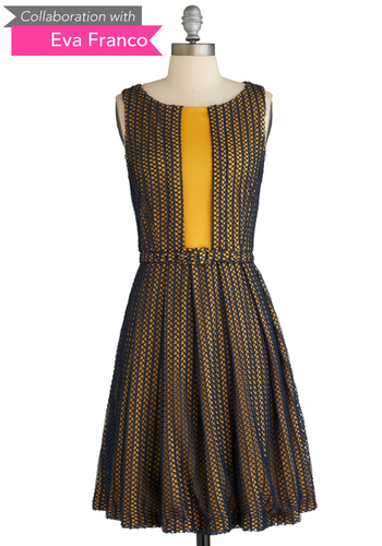 Sample 2074 - Yellow, Black, Party, Vintage Inspired, Sleeveless, Belted, Print, Pleats, Fit & Flare