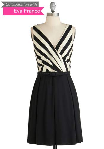 Sample 2078 - Black, White, Solid, Stripes, Casual, Vintage Inspired, A-line, Sleeveless, Belted, Pleats