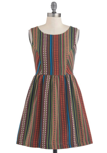 A Loom of One's Own Dress - Short, Multi, Print, Backless, Casual, A-line, Sleeveless, Summer, Folk Art, Cotton, Fit & Flare
