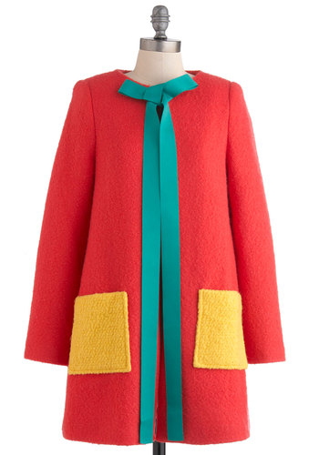 The Enchanting Illustrator Coat by Nishe - Yellow, Green, Casual, Long Sleeve, Bows, Pockets, Fall, Winter, 3, Long, Neon, Tie Neck, Colorblocking, International Designer, Coral