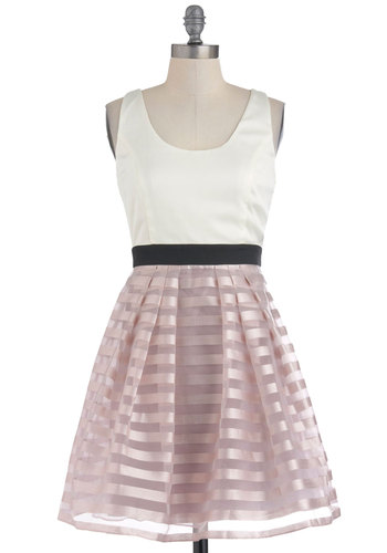 Lavender Scone Dress - Mid-length, Multi, Pink, Black, White, Stripes, Pleats, Party, Twofer, Sleeveless, Pastel, Cocktail, Fit & Flare, Formal