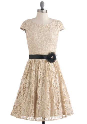 Dine with Me Dress - Cream, Black, Flower, Lace, Wedding, Party, A-line, Cap Sleeves, Cocktail, Holiday Party
