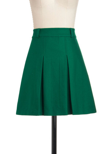 Sweet with Pleats Skirt - Green, Solid, Casual, A-line, Short, Pleats, Exclusives