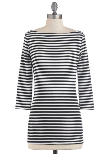 Ooh La Gondola Top - Black, White, Stripes, Nautical, 3/4 Sleeve, Casual, Fall, Exclusives, Spring, Mid-length