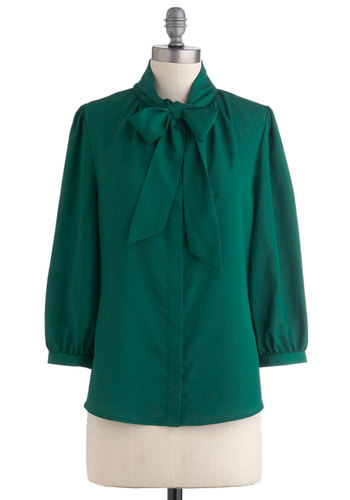 Green Tea Milk Top - Green, Solid, Long Sleeve, Tie Neck, Work, Mid-length, Scholastic/Collegiate, Exclusives, Best Seller, Button Down, Variation, Pinup, Fall, Green, Long Sleeve