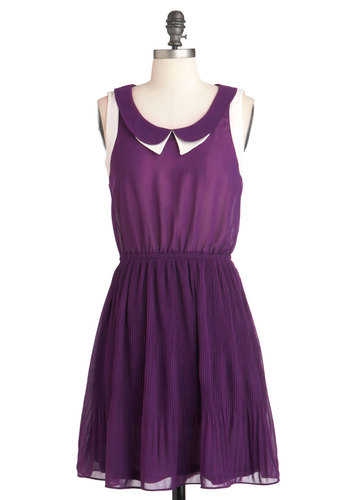 Grape Minds Think Alike Dress - Purple, White, Solid, Peter Pan Collar, A-line, Sleeveless, Mid-length, Casual, Sheer, Collared