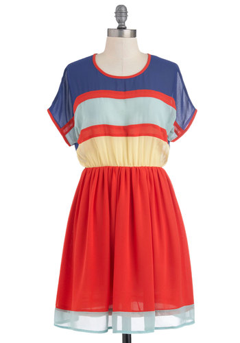 Any Day Wow Dress - Multi, Red, Yellow, Blue, Stripes, Casual, A-line, Short Sleeves, Short, Summer, Sheer, Coral, Colorblocking