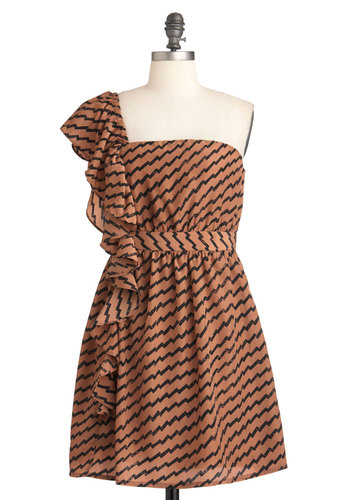 Positive Amplitude Dress - Brown, Black, Stripes, Ruffles, Party, Shift, One Shoulder, Short, Cocktail