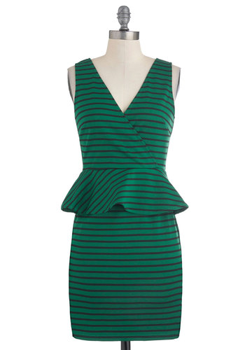 Lawn Your Mind Dress - Green, Black, Stripes, Work, Sleeveless, Peplum, Short, Exposed zipper, V Neck
