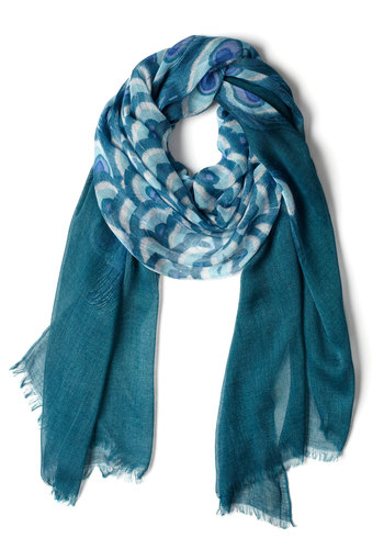 Time Stands Teal Scarf - Blue, Print