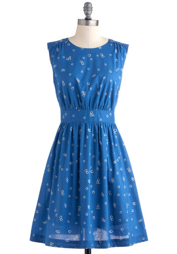 Too Much Fun Dress in Horseshoes by Emily and Fin - Blue, White, Novelty Print, Casual, A-line, Sleeveless, Spring, Pockets, Mid-length, Cotton, Fit & Flare, International Designer, Variation