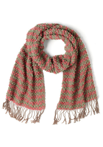 Let's Do Scrunch Scarf in Watermelon - Stripes, Fringed, Multi, Orange, Grey, Holiday Sale