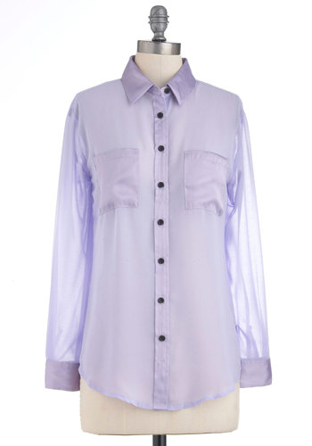 Lavender Patch Top - Purple, Black, Solid, Buttons, Pockets, Long Sleeve, Casual, Menswear Inspired, Mid-length, Pastel, Sheer, Button Down, Collared