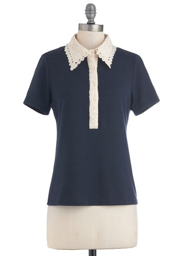 Game, Set, Natch Top - Blue, Tan / Cream, Lace, Short Sleeves, Mid-length, Casual, Scholastic/Collegiate, Jersey, Collared