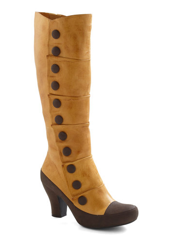 Fact and Confection Boot by Miz Mooz - Yellow, Brown, Buttons, Casual, Vintage Inspired, Steampunk, Mid, Party, French / Victorian, Leather