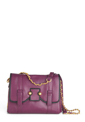 Botkier Plum Hither Bag - Black, Chain, Purple, Gold, Solid, Casual, Scholastic/Collegiate, Leather