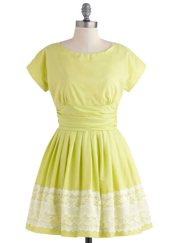 Keeping Low-Key Lime Dress - Green, White, Solid, Pleats, Party, Short Sleeves, Summer, Ruching, Fit & Flare, Lace, Neon, Cotton