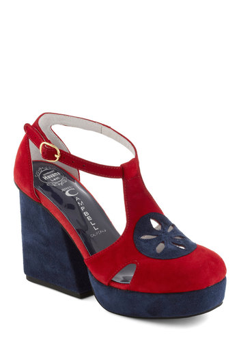 Room and Board Games Heel by Jeffrey Campbell - Multi, Red, Blue, Cutout, Party, 70s, Leather, Suede, Platform, High