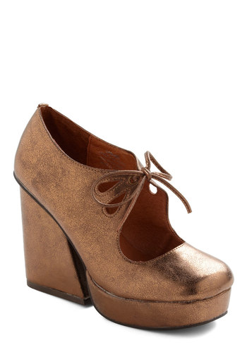 Brains and Bronze Heel by Jeffrey Campbell - Bronze, Solid, Cutout, Party, Vintage Inspired, 70s, Statement, Platform, High, Chunky heel