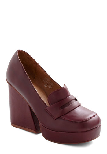 Classic Cabernet Heel by Jeffrey Campbell - Red, Solid, Work, Casual, 70s, Vintage Inspired, Fall, Scholastic/Collegiate, Leather, Platform, High, Chunky heel