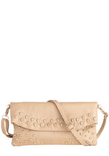 Rooftop Album Release Clutch - Tan, Silver, Solid, Studs, Party, Urban, Girls Night Out, Faux Leather