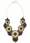 Stop, Elaborate, and Glisten Necklace in Black - Black, Gold, Party, Statement