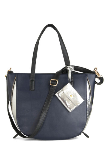 Jet Outta Town Bag - Blue, Black, Silver, Exposed zipper, Urban, Casual, Faux Leather